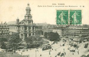 Kirche der Dreieingkeit und direkter Blick auf den Montmartre, Paris