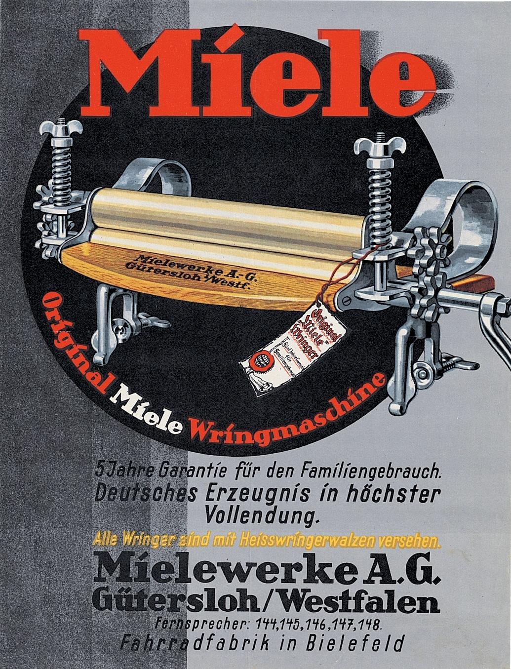 1923 1923 anzeige f r die neue miele wringmaschine fotos auf. Black Bedroom Furniture Sets. Home Design Ideas