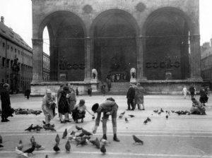 Tauben füttern vor der Feldherrenhalle