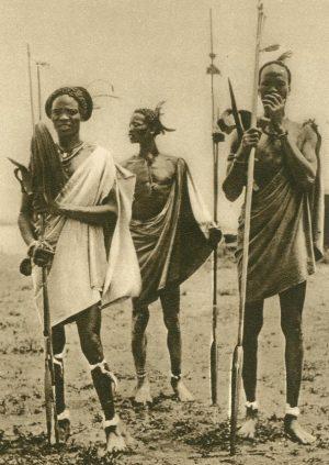 Shilluks, eingeborene Krieger, Sudan