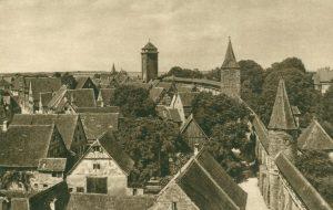 Rothenburg ob der Tauber. An der Stadtmauer, Deutschland