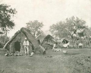 Strohhütten in Salamanca, Mexiko
