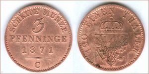 Scheidemünze 3 Pfenninge 1871