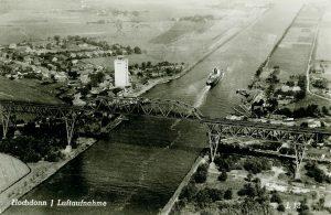 Luftaufnahme von Hochdonn – Hochbrücke, Fähranleger und Hafen