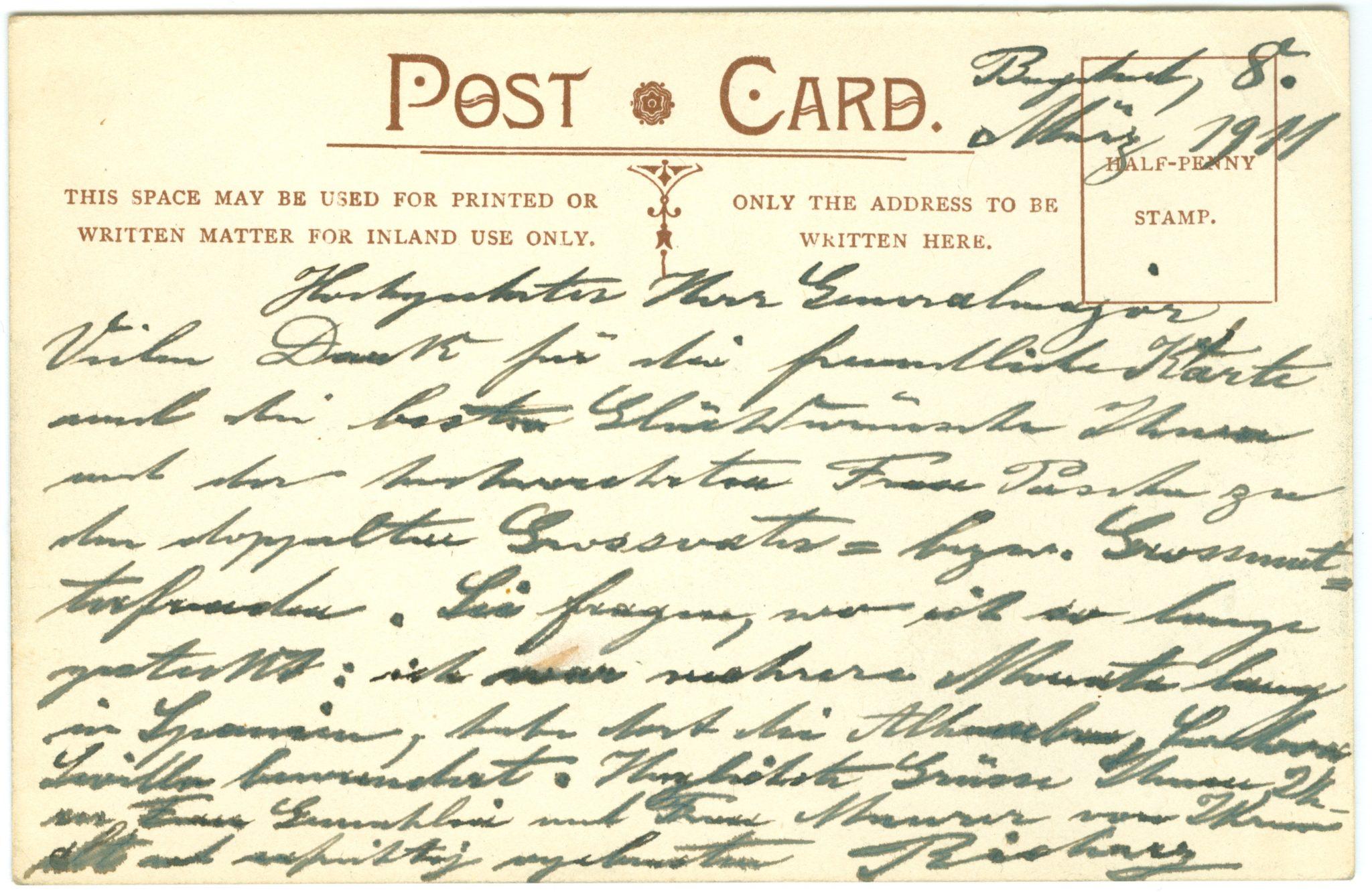 Rückseite der Postkarte